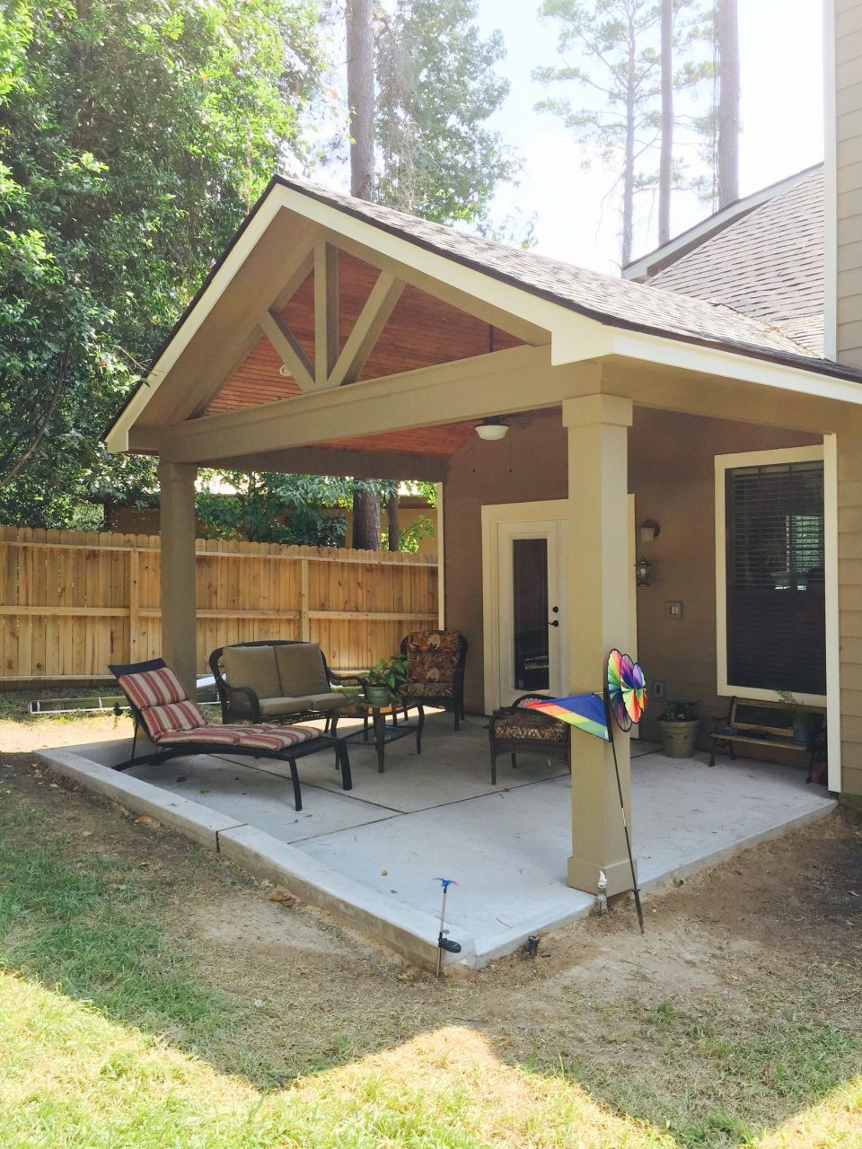 Gable Roof Patio Cover With Wood Stained Ceiling Gable Roof Patio