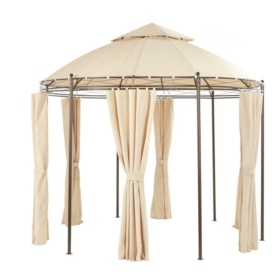 Garden Gazebo Round Metal With Cream Side Curtains In Bootle