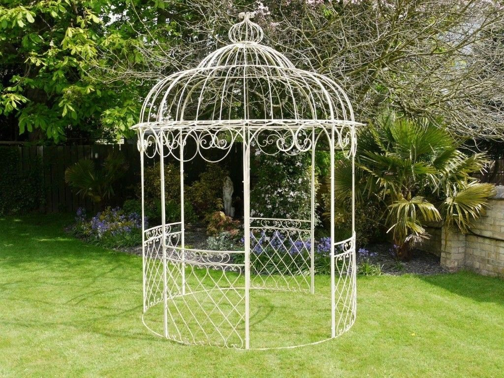 Gazebo Cream Wrought Iron Round Gazebo In Backwell