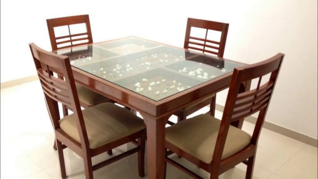 Glass Top Dining Table With Wooden Base Youtube