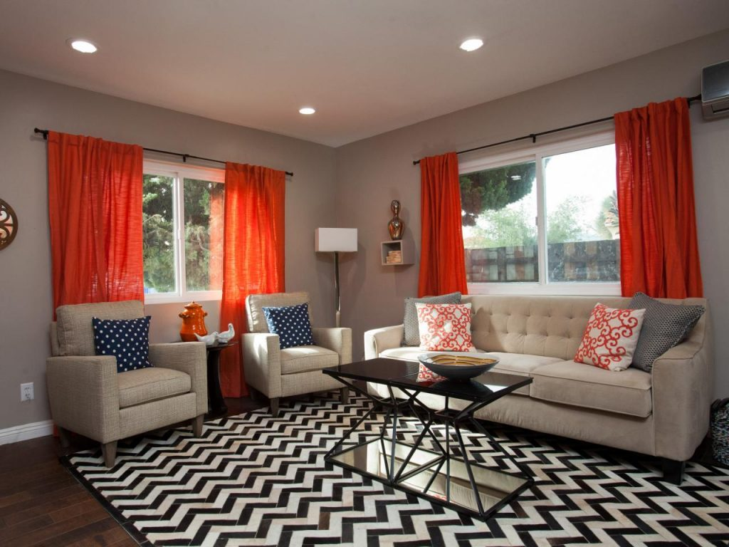 Good Orange Curtains For Living Room Nice Orange Curtains For