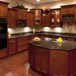 Black Granite with Cherry Wood Kitchen Cabinets