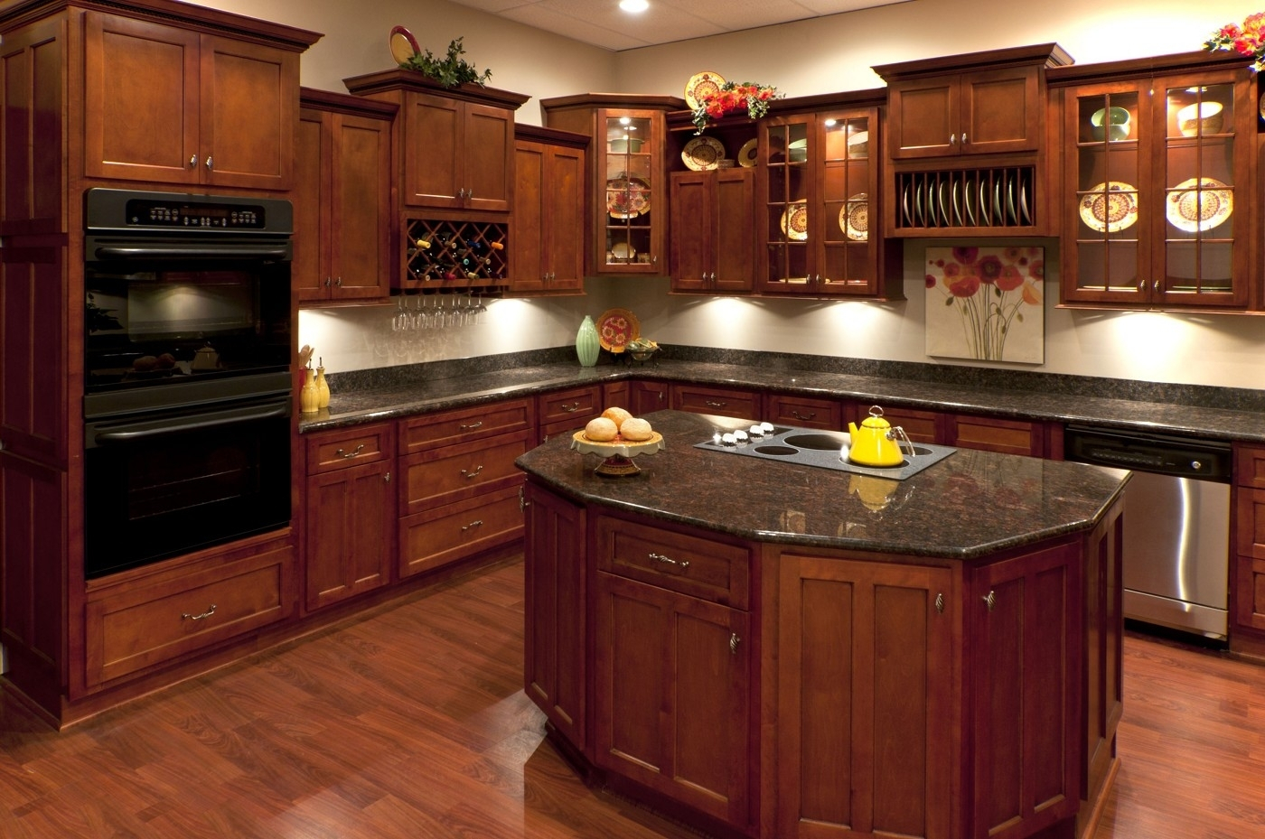 Black Granite With Cherry Wood Kitchen Cabinets Layjao