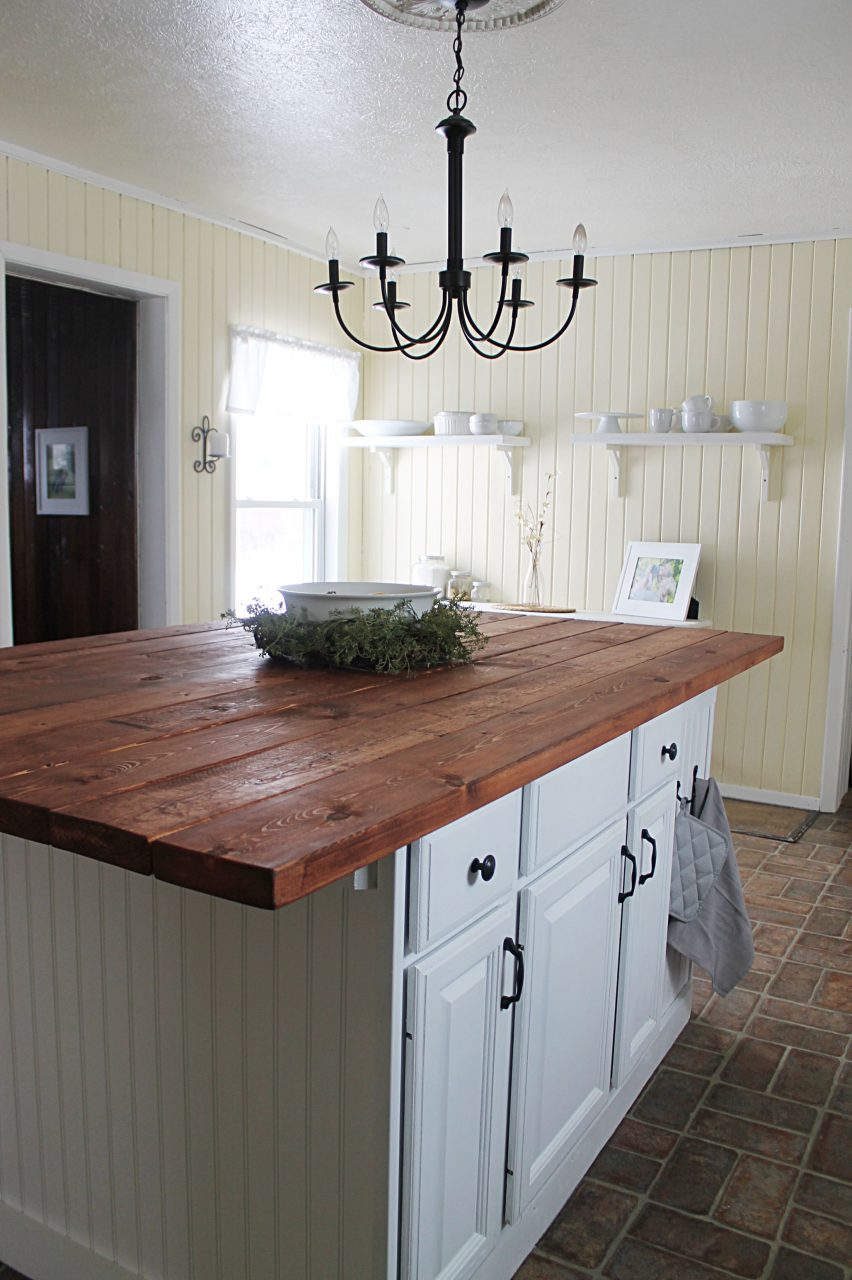 Gorgeous Farmhouse Kitchen Island Made From Salvaged Cabinets