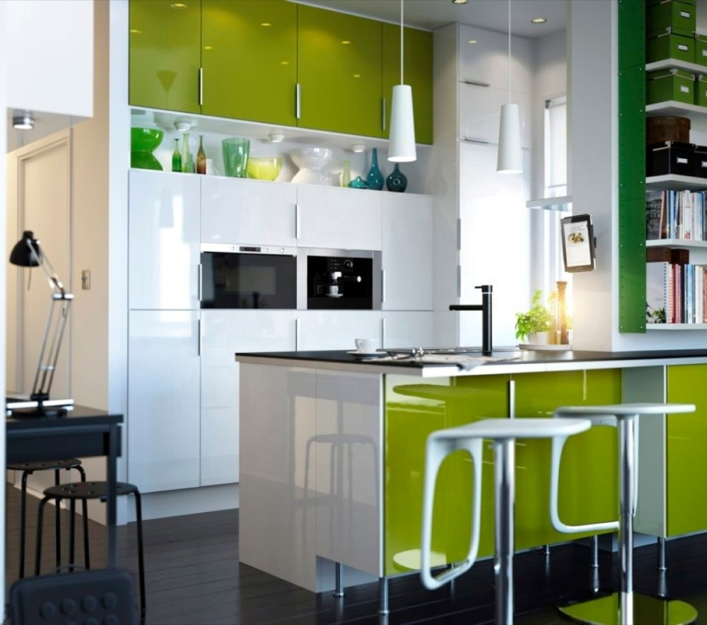 Green Lacquer Kitchen Cabinet With Wall Hanging Glass Door Design