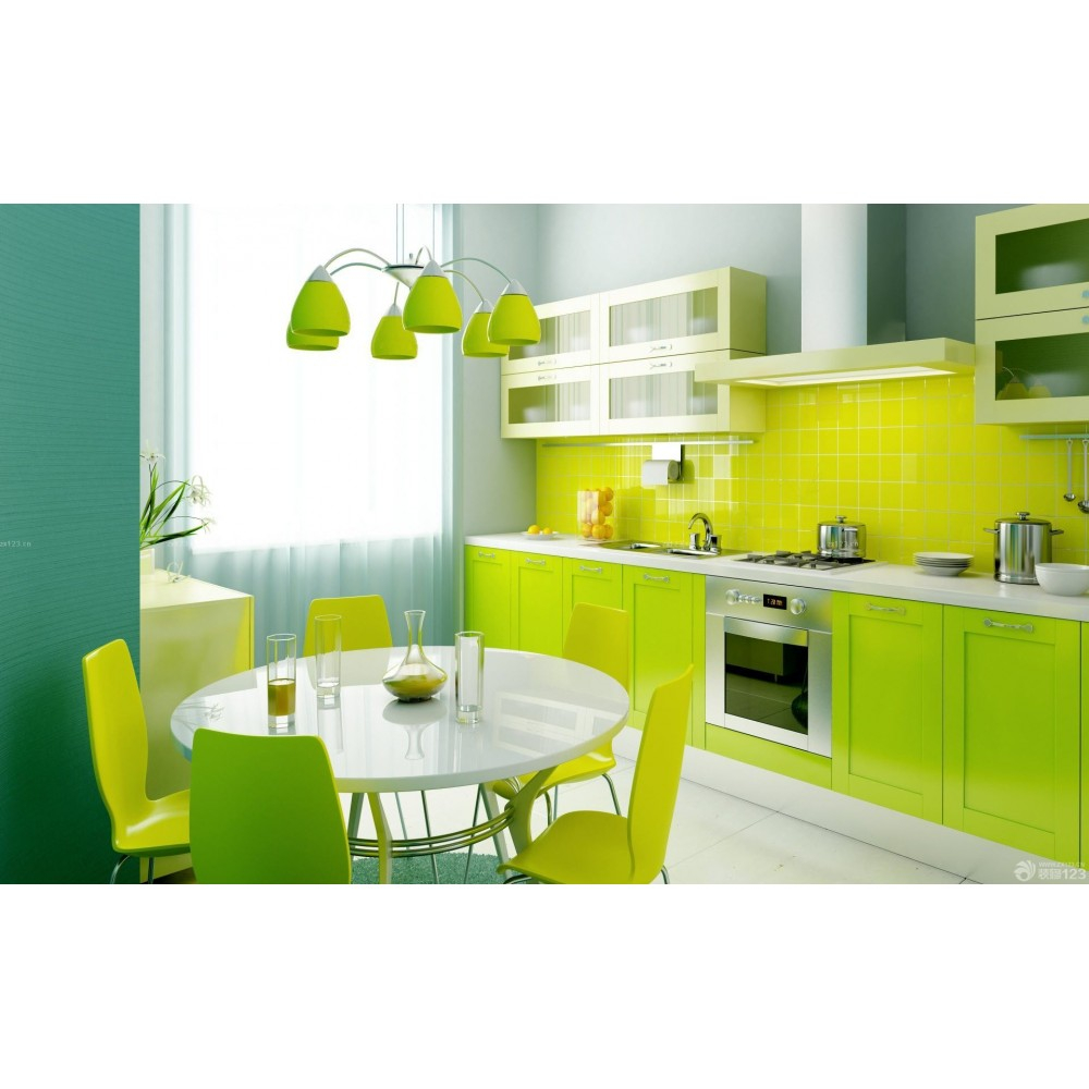 Green Lacquer Kitchen With Modern Design K023