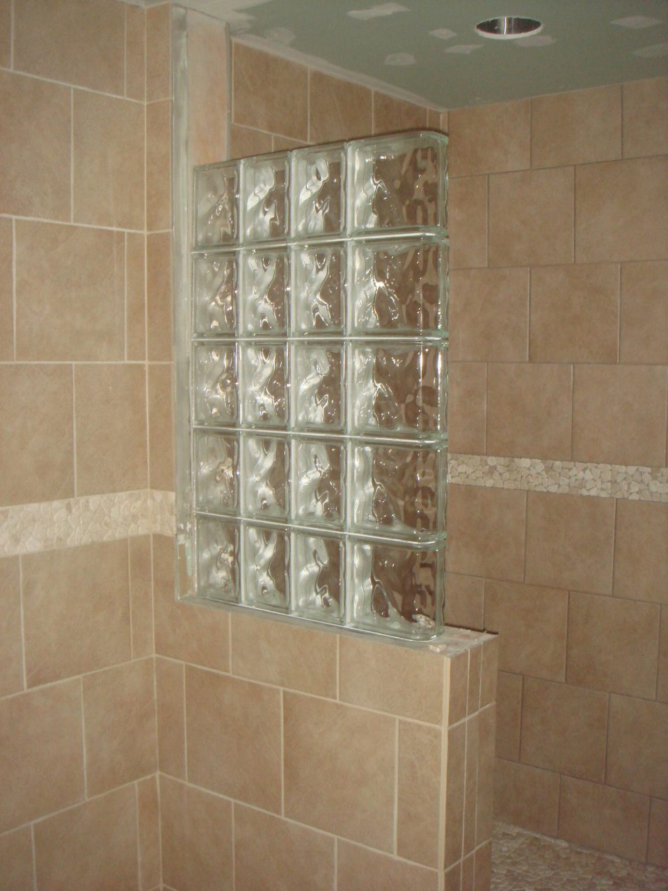 Half Wall Shower Design An Addition Some Glass Block Wall And