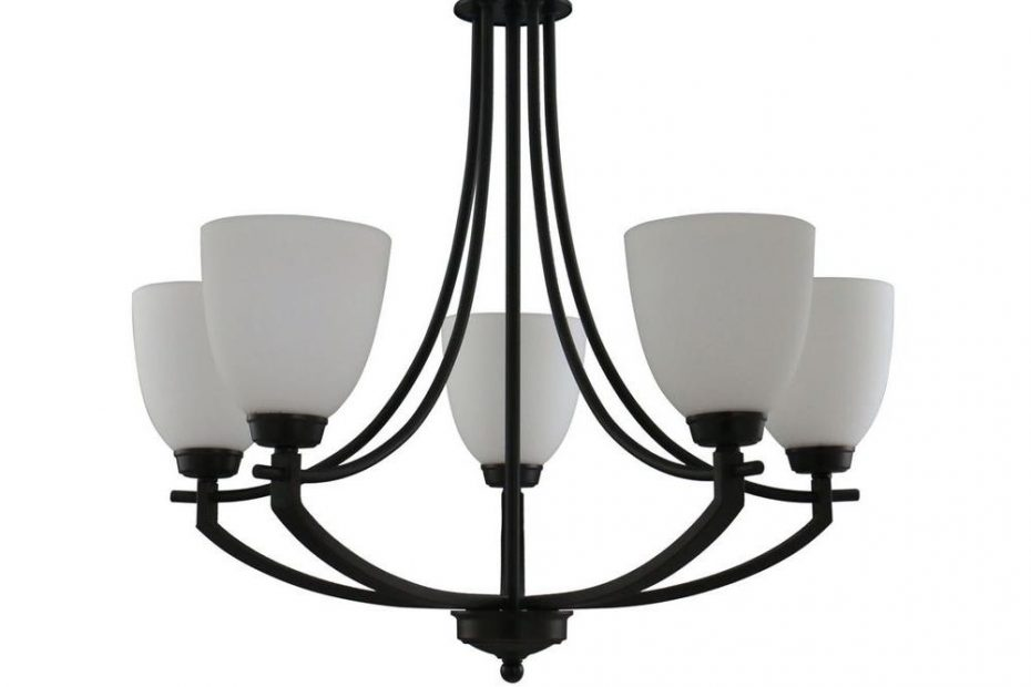Hampton Bay 5 Light Bronze Chandelier With White Frosted Glass
