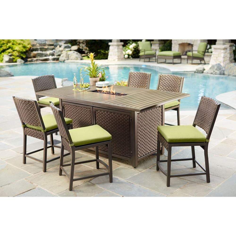Hampton Bay Carol Stream 7 Piece Balcony High Patio Dining Set S7