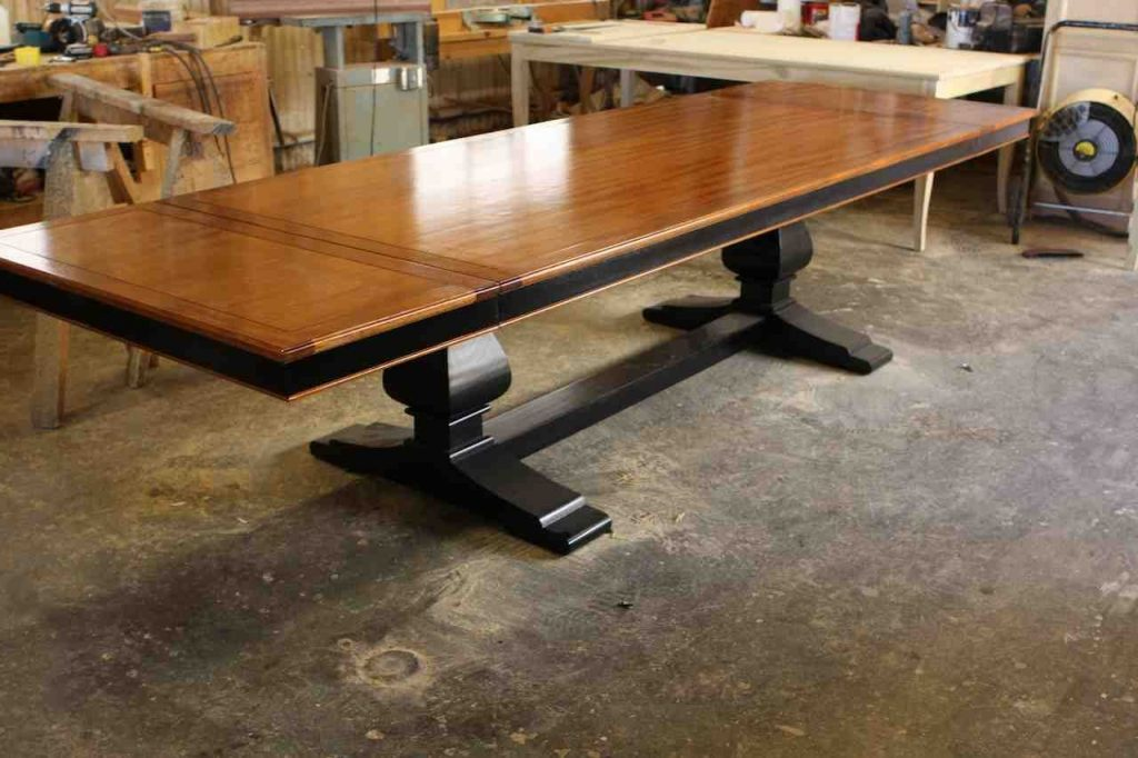 Hand Crafted Custom Mahogany Wood Trestle Dining Table With 2 Leaves