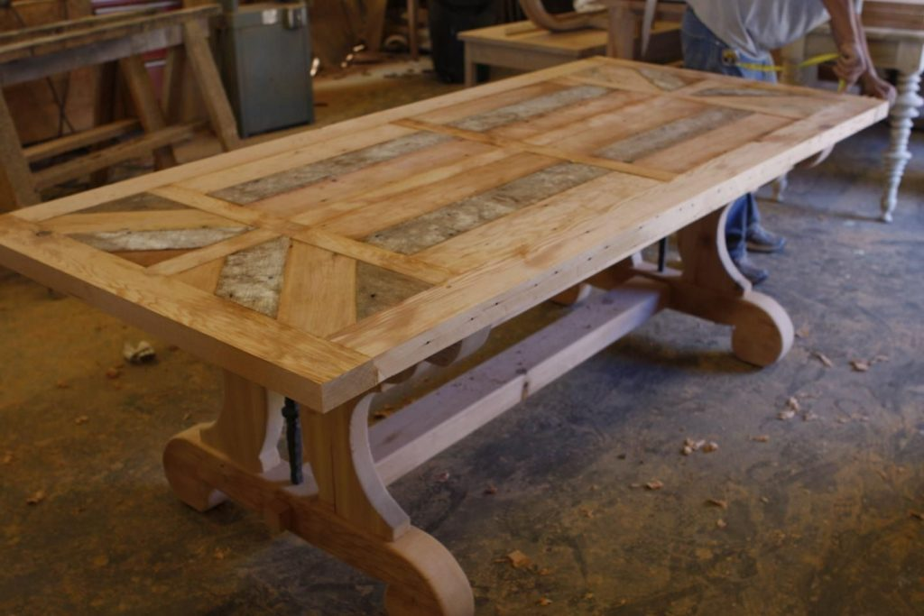 Hand Crafted Custom Trestle Dining Table With Leaf Extensions Built