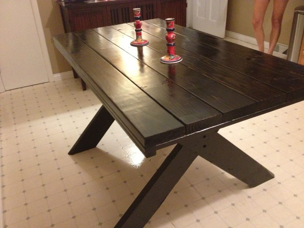Hand Made 2 Tone Farm Table With Picnic Style Legs Last Boss