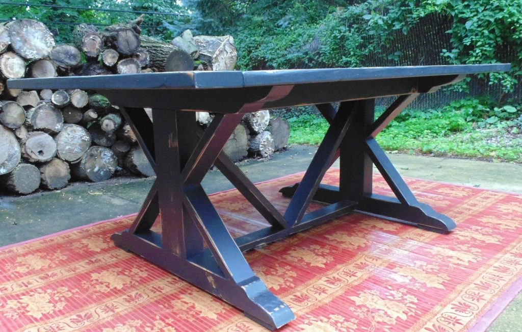 Handmade Reclaimed Wood Chevron X Style Farmhouse Table