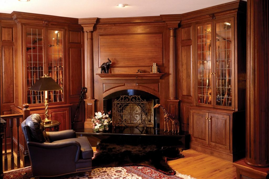 Handmade Walnut Library With Fireplace And Gun Cabinets Odhner