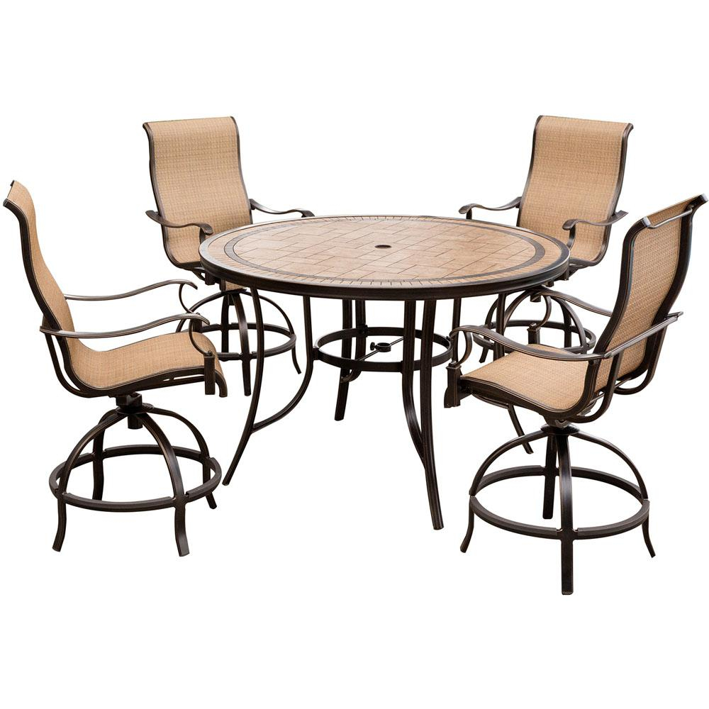 Hanover Monaco 5 Piece Aluminum Outdoor High Dining Set With Round