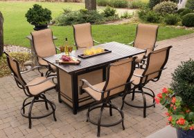 Patio Dining Set with Fire Pit