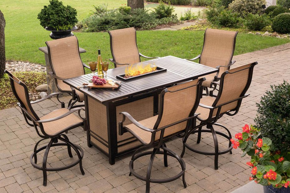 Hanover Monaco 7 Piece High Dining Set With 6 Swivel Rockers And A