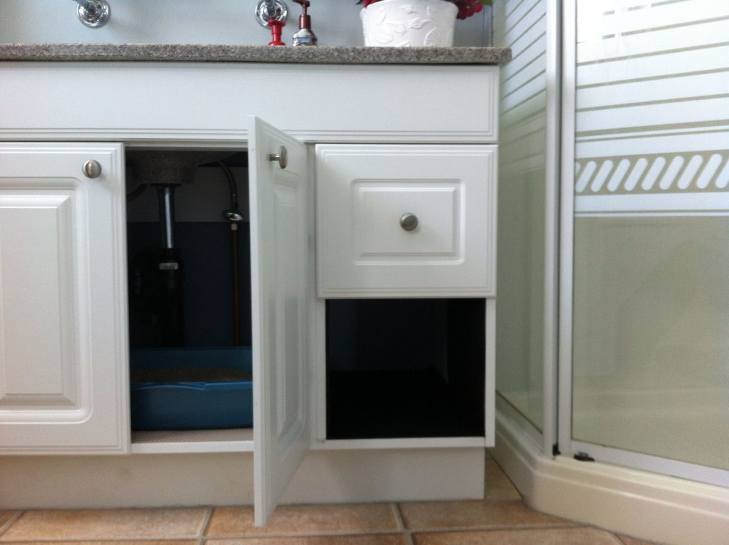 Hidden Litter Box Take Out Drawer On One Side Of Cabinet Line With