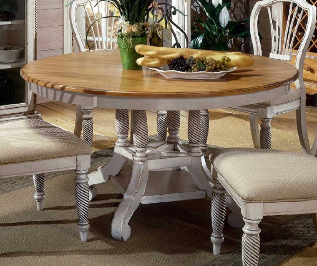 Hillsdale Wilshire Round Oval Dining Table Antique White 4508 816