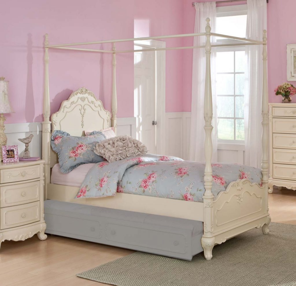 Home Elegance Cinderella White Full Canopy Poster Bed The Classy Home