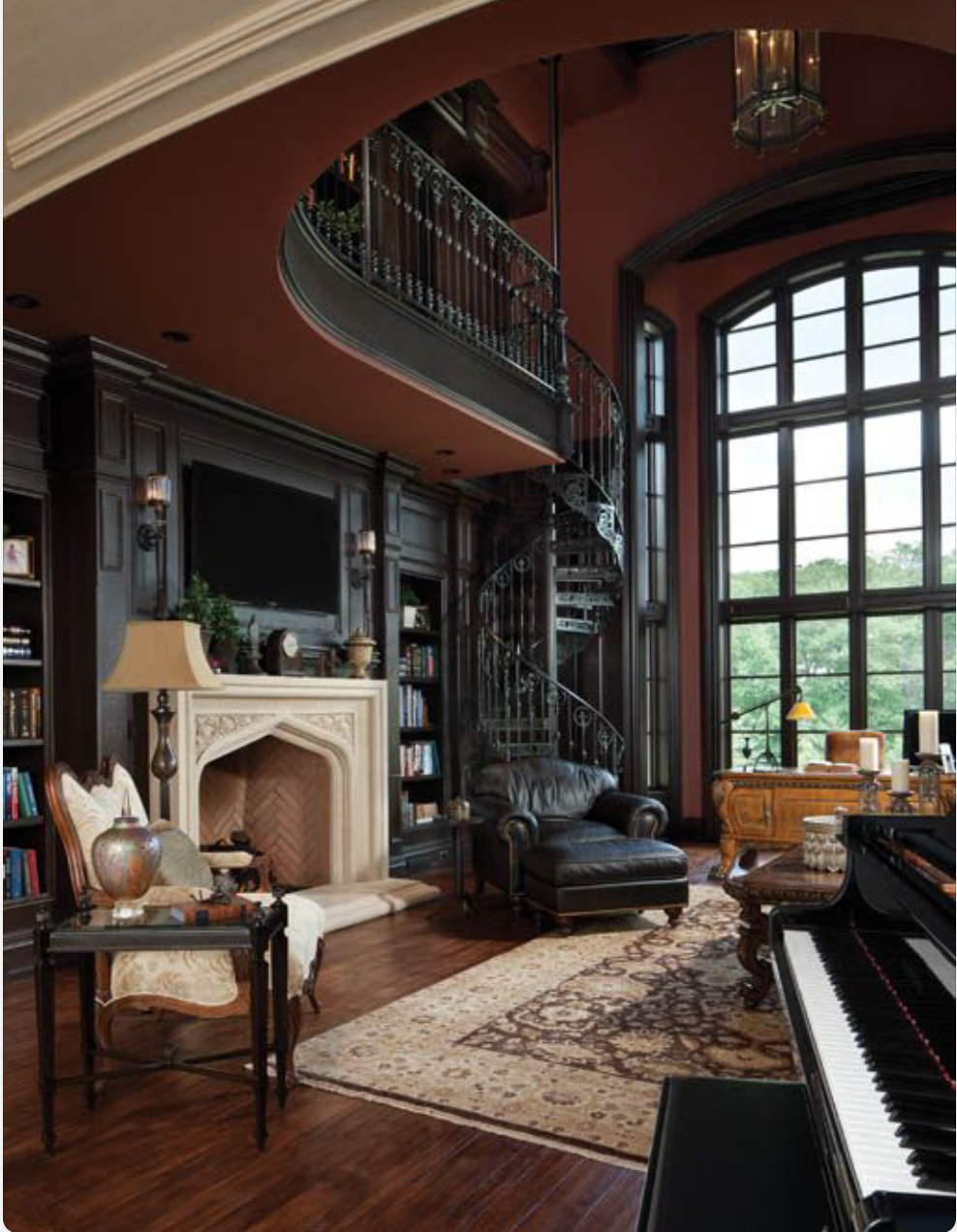 Home Library 2 Story With Spiral Staircase Fireplace And Large