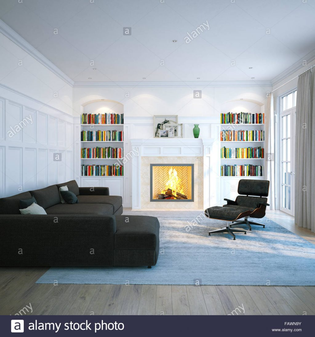 Home Library In Classic White Room Living Interior With Fireplace
