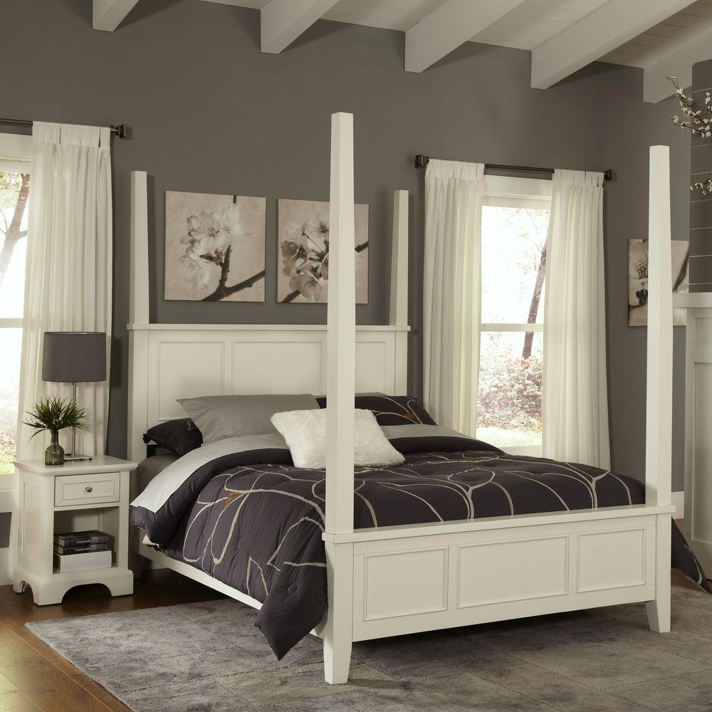 Home Styles Naples White King Poster Bed 5530 620 The Home Depot