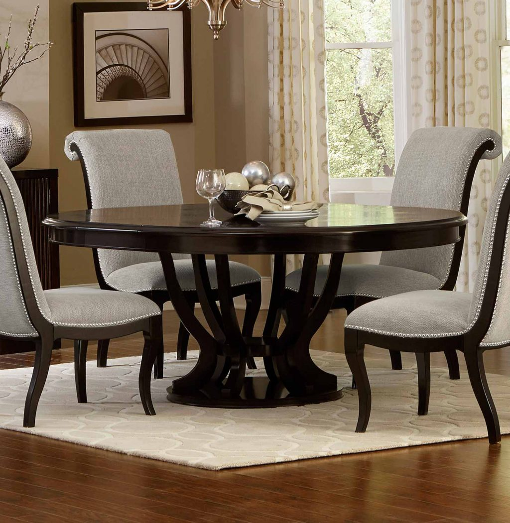 Homelegance Savion Roundoval Dining Table With Leaf Espresso 5494