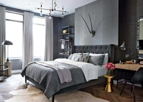 Industrial Dark Gray Walls Bedroom Masculine