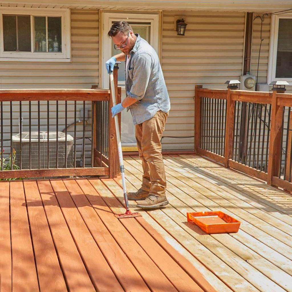 How To Refinish A Deck With Acrylic Based Deck Stain The Family