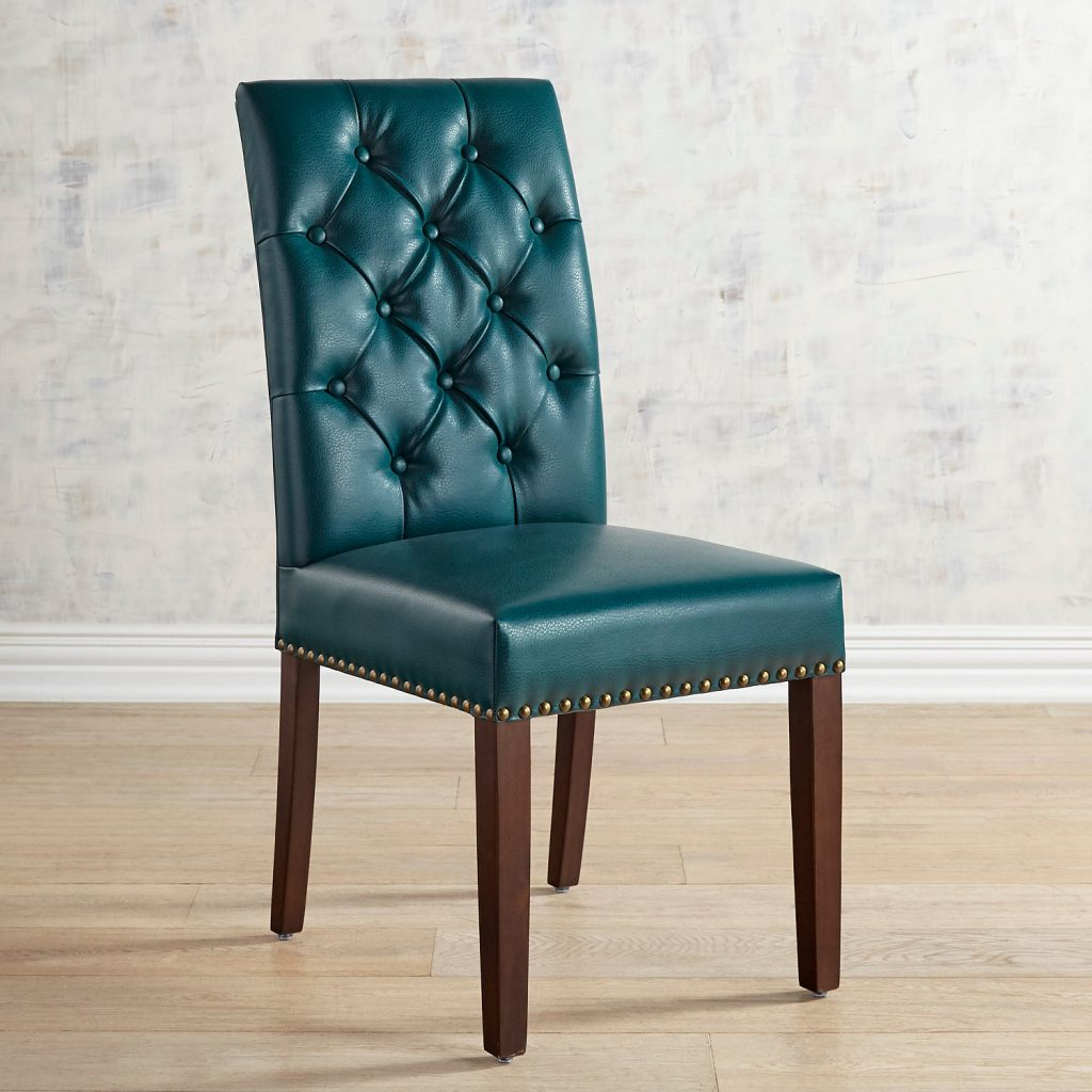 Hudson Teal Vegan Leather Dining Chair With Walnut Brown Wood In