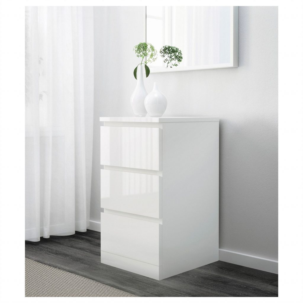 Ikea Malm Chest Of 3 Drawers 40x78cm White High Gloss Bedroom