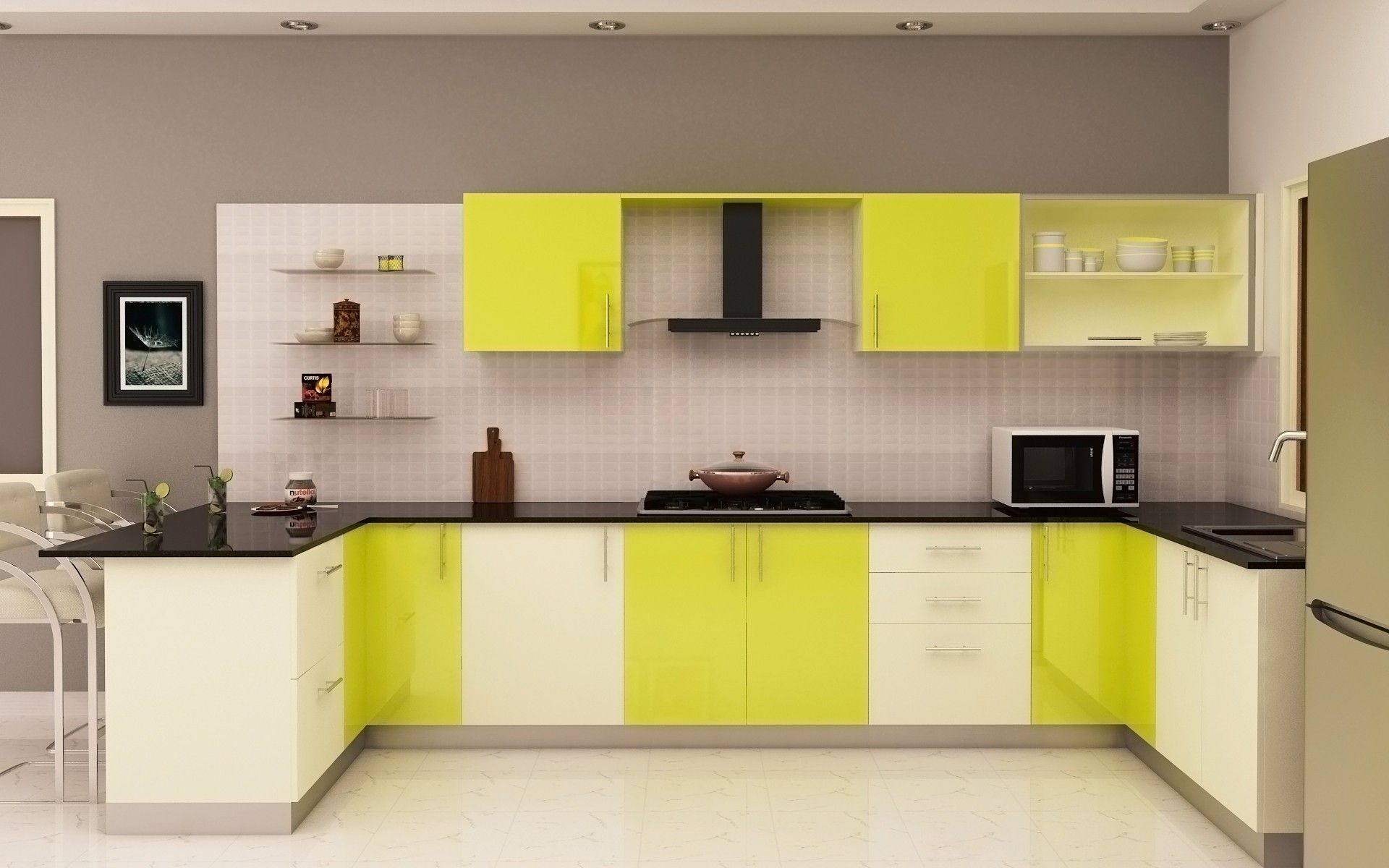 Incredible White Green Lime Colors Kitchen Cabinets And Black Marble Layjao