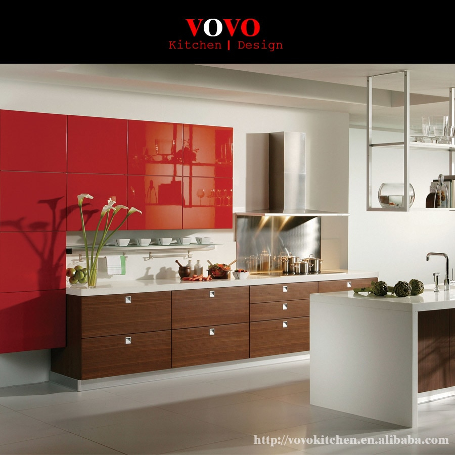 Integrated Wood Grain Melamine Kitchen Cabinet With Highg Gloss Red