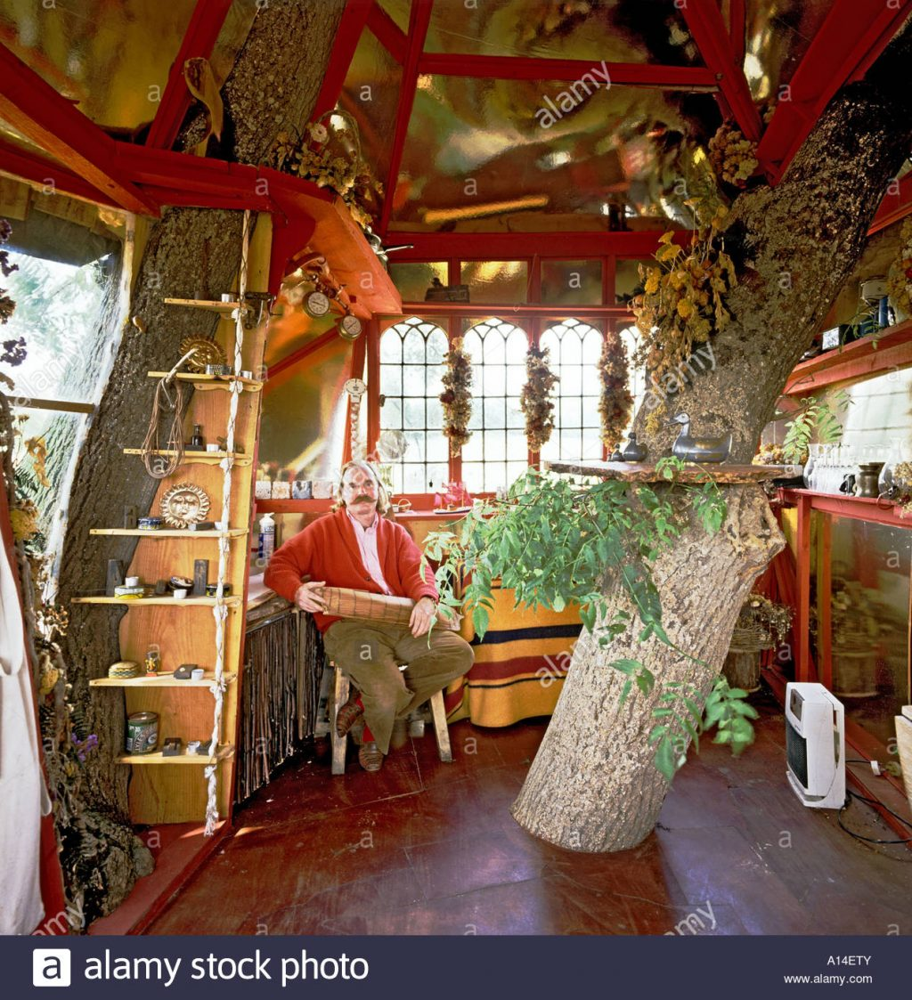 Interior Of Unique Tree House Designed And Built Successful Stock