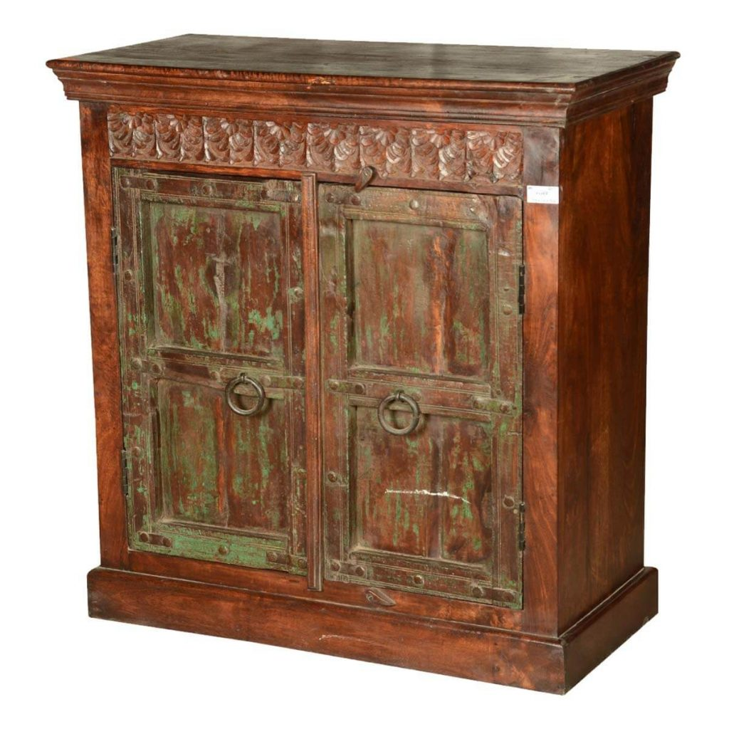 Italian Gothic Floral Reclaimed Wood Buffet Cabinet