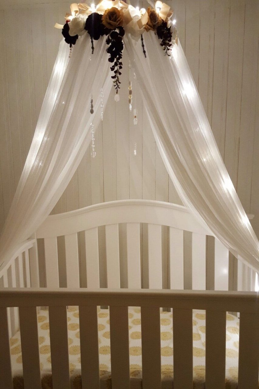 Ivory Champagne Plum Canopy Nursery Crib Canopy Bed Canopy