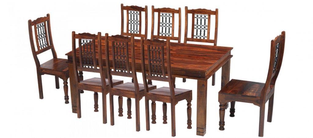 Jali Sheesham 200 Cm Chunky Dining Table And 8 Chairs Quercus Living