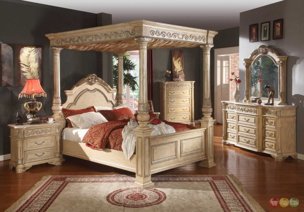 Kamella Antique White Traditional Poster Canopy Bedroom Furniture