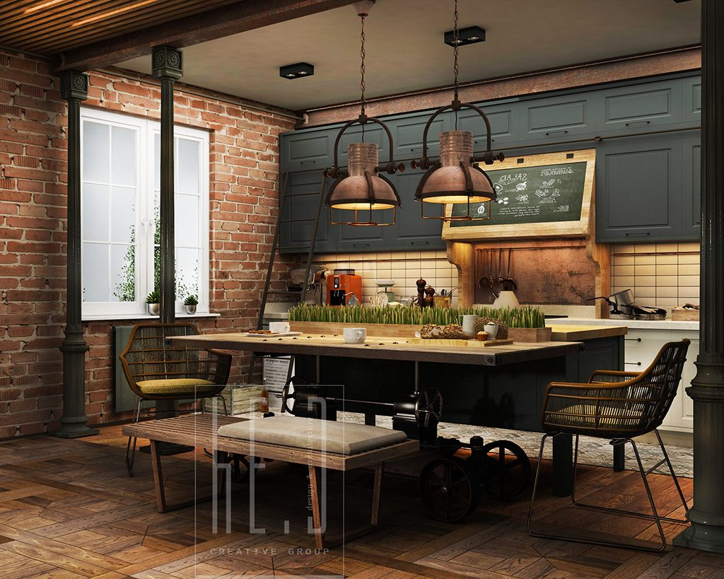 Kitchen Design Awesome Industrial Decor Exposed Brick