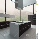 Kitchen Interior With Floor To Ceiling Windows Stock Photo Image