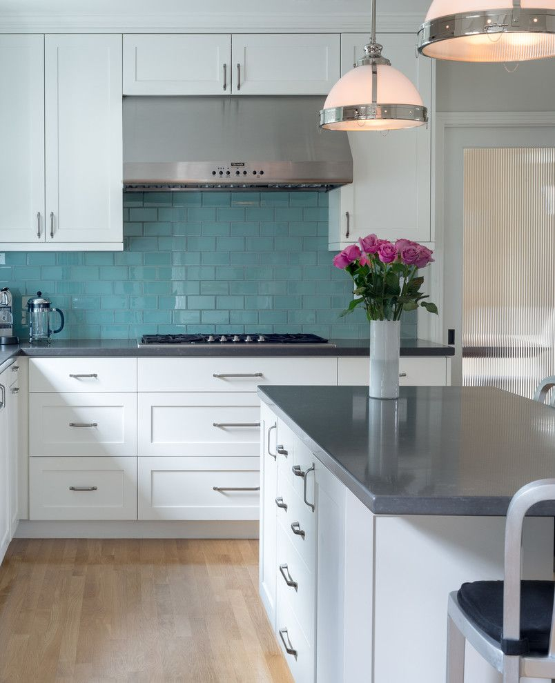 Kitchen With White Cabinets Gray Countertops Turquoise Blue Subway