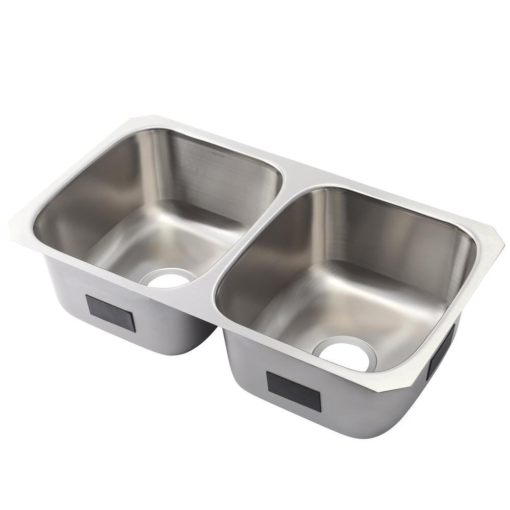 Kohler Ballad Undermount Stainless Steel 32 In 5050 Double Bowl