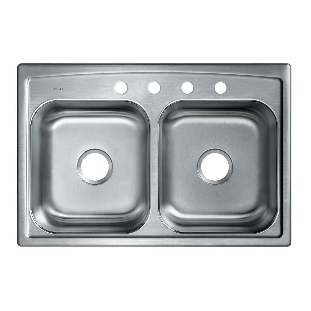 Kohler Toccata Drop In Stainless Steel 33 In 4 Hole Double Bowl
