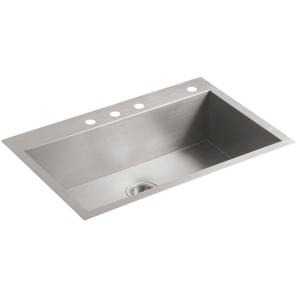 Kohler Vault Drop Inundermount Stainless Steel 33 In 4 Hole Single