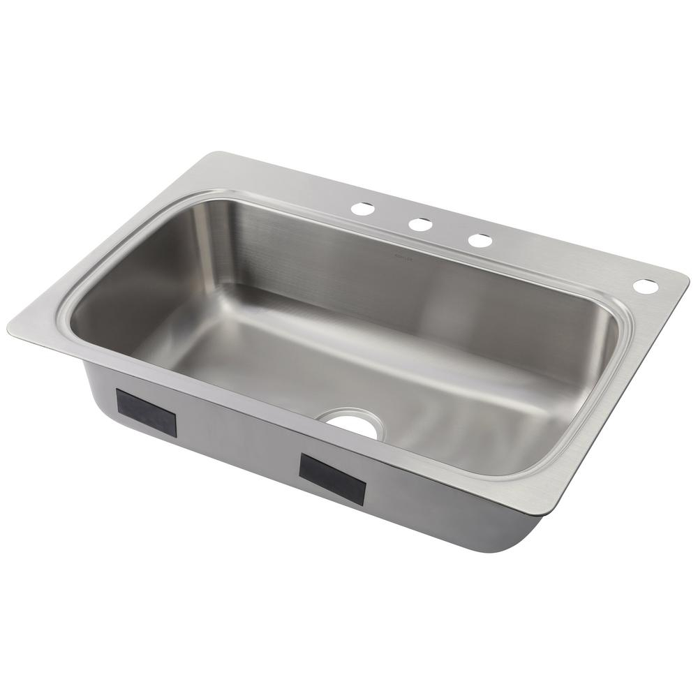 Kohler Verse Drop In Stainless Steel 33 In 4 Hole Single Bowl