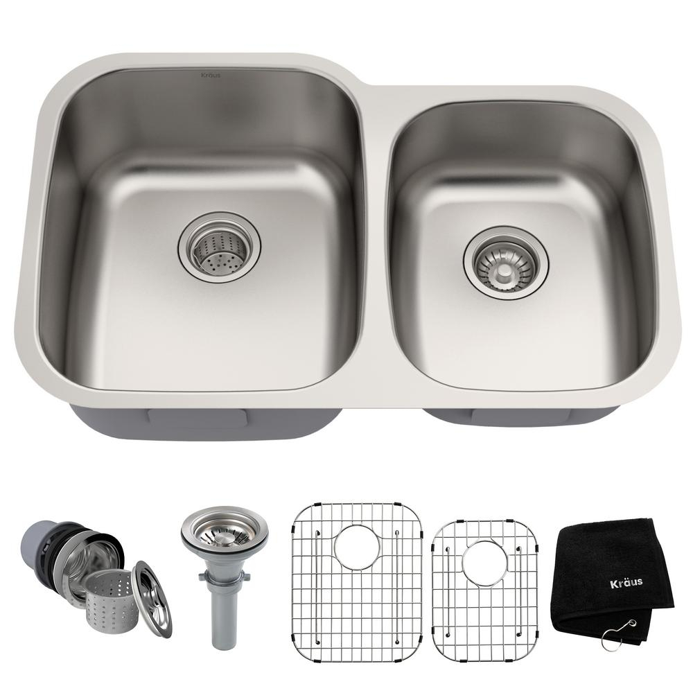 Kraus Premier Undermount Stainless Steel 32 In 6040 Double Bowl
