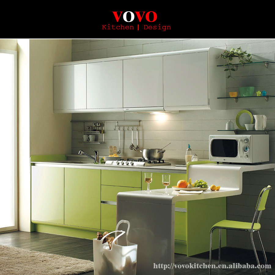 L Shaped Green Lacquer Kitchen Cabinets China Factory Direct Supply
