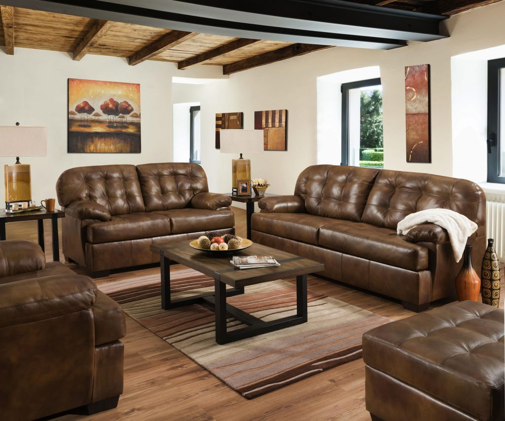 Lane Furniture Soft Touch Chaps Leather 3pc Living Room Set The