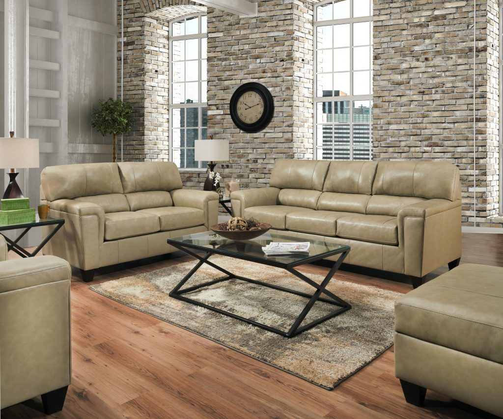 Lane Furniture Soft Touch Putty Leather 3pc Living Room Set The